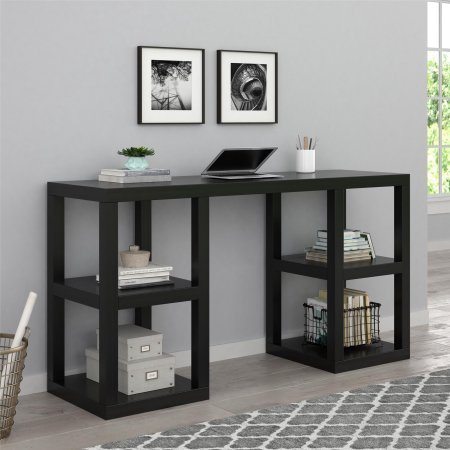 Simple Elegant Design Mainstays Stylish Deluxe Home Office Desks with Double Pedestal Sides in Black Oak Finish