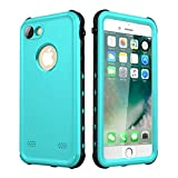 iPhone 7/8 Waterproof Case, Upgraded Shockproof Dropproof Dirtproof Rain Snow Proof Full Body Protective Cover IP68 Underwater Case Fingerprint ID Built-in Screen Protector for iPhone 7 8 (Aqua)
