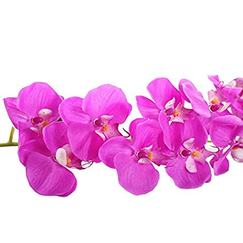 Outtop 28.34 Inch Orchid Artificial Flowers Bouquets Real Touch Fake Flower for Home and Wedding Decoration (Purple)