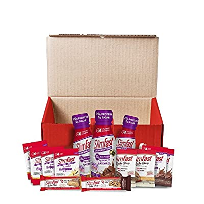 SlimFast the 7-Day Quick Start Kit, 14 meal replacement assortment - High Protein Shakes and Smoothie Mixes, Bars and Cookies