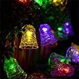 Hulorry Solar Christmas String Lights, Solar String Lights Outdoor Waterproof Solar Fairy String Lights Bell Decorative Lighting for Patio Lawn Landscape Garden Home Wedding Holiday