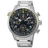 Seiko Men's Black Dial Stainless Steel Chronograph Quartz Men's Watch SSC369