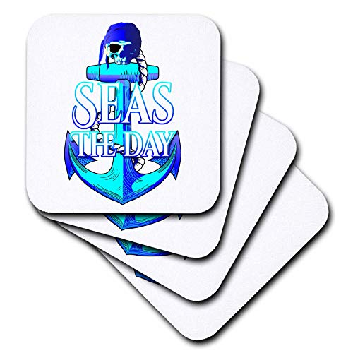 Rubber Placemat Recycled - 3dRose MacDonald Creative Studios – Nautical - Coastal colors nautical anchor and pirate skull, Seas the Day. - set of 8 Coasters - Soft (cst_295634_2)