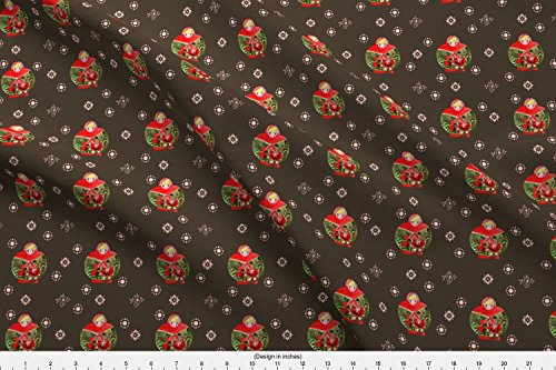 Spoonflower Russian Fabric Matrioschka Garden Choco S by Nadja Petremand Printed on Satin Fabric by the ()