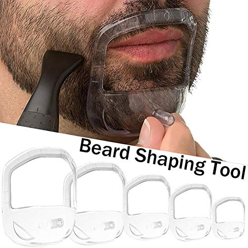 5PCS Transparent Beard Shaper Styling Tool Different Sizes Facial Hair Trimming Guide Grooming Shaper Hair Lineup Tool For Man