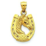 14K Yellow Gold Horse in Horseshoe Charm Pendant