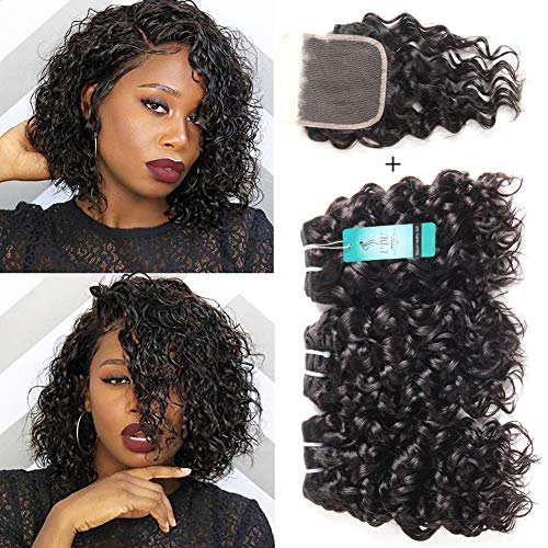 (Malaysian Water Wave Bundles with Closure, Ocean Wave Wet & Wavy Human Hair Bundles with Closure, 100% Human Hair Weave Extensions Remy Hair Bundles Water Curly Hair (8 8 8+8inch))