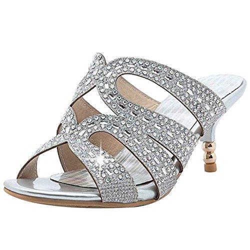 Silver Comfort Kitten Women Shoes Heel Mid Heel Sandals RizaBina Cut Mules Out Hqg6w6p