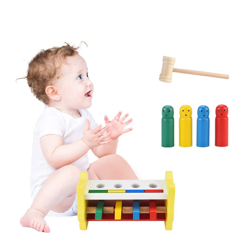 Educational Dolls Celendi Wooden Pounding Bench Hammering Toys with Mallet Strike Game Educative Toddler for Children's Day Gift