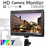"""Feelworld FW759 Camera Monitor 7""""Ultra HD 1280x800 Field Video LCD IPS Screen 800:1 High Contrast Ratio for Steady Cam, DSLR Rig, Camcorder Kit, Handheld Stabilizer"""