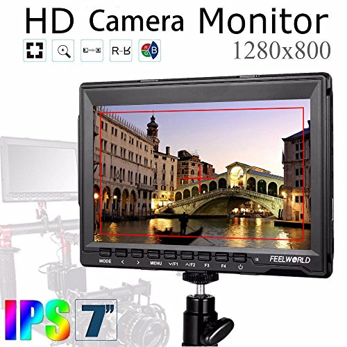 """Feelworld FW759 Camera Monitor 7""""Ultra HD 1280x800 Field Video LCD IPS Screen 800:1 High Contrast Ratio for Steady Cam, DSLR Rig, Camcorder Kit, Handheld Stabilizer by FEELWORLD"""