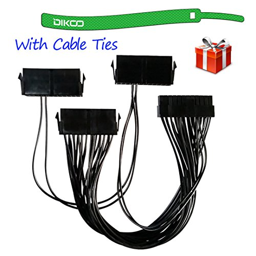 DIKOO 24 Pin Triple PSU Power Supply 24-Pin (20+4) Adapter Cable for ATX Motherboard 12-inch (30cm)