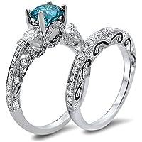 Nongkhai shop Fashion Women 925 Silver Round cut Blue Topaz Ring Set Wedding Band Jewelry (9)