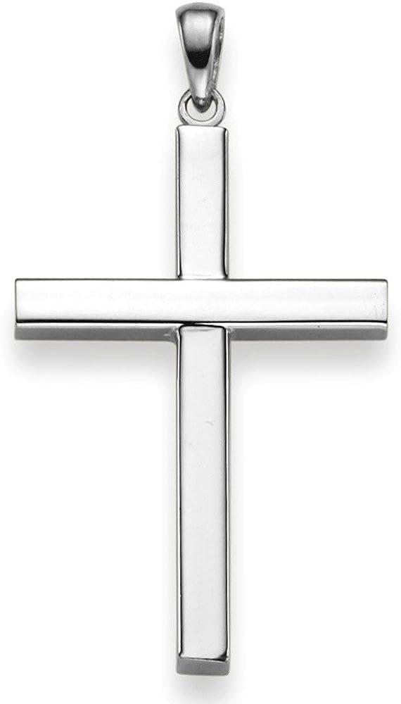 Pendentif croix 20.5 x 38 mm en or blanc 750 halsschmuck sobre