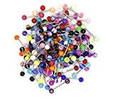 14G Tongue Rings, Sweeethome 110 Pack Barbell Tongue Piercing Ring Retainer Wholesale Soft