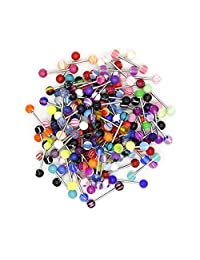 14G Tongue Rings, Sweeethome 110 Pack Barbell Tongue Piercing Ring Retainer Wholesale Soft Nipple Ring