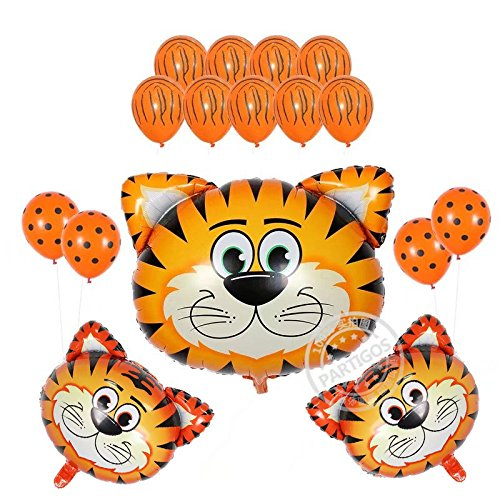 16Pack Kids Birthday Party Decorations 30inch Tiger Balloon 12inch Latex Balloons for Farm Animal Theme Party Kid Birthday Party Favors (tiger) (Tiger Decorations)