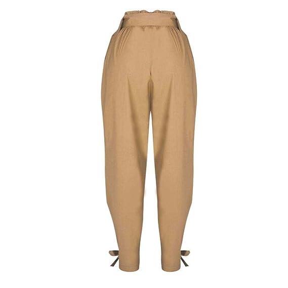 ❤ Pantalones para Mujer con cinturón, Pantalones de Cintura Alta Ladies Party Casual Absolute: Amazon.es: Ropa y accesorios