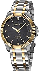 Mens Classic Style Silver Golden Stainless Steel Mens Wrist Watches with Crystals For Man Black