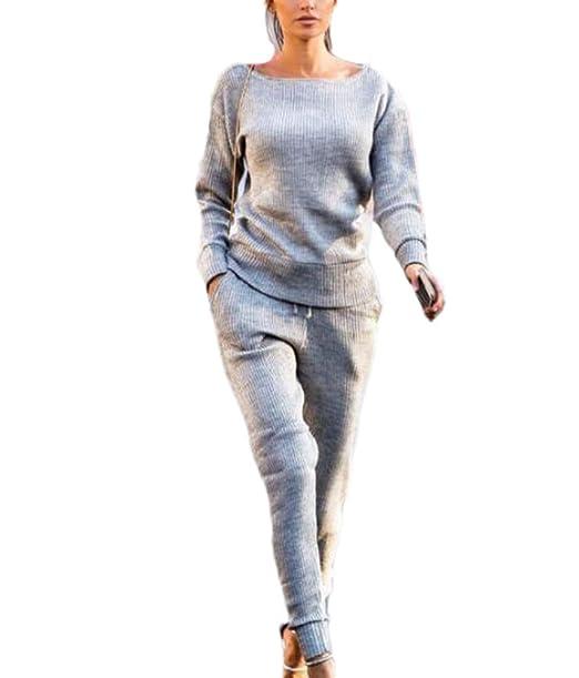 Huateng Traje de Punto Casual Mujer 2 Piezas, Manga Larga Conjunto Pijama de Desgaste Sudadera