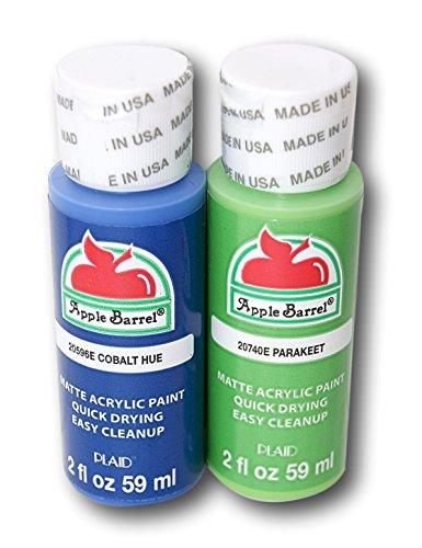 Apple Barrel Acrylic Paint Set - Cobalt Hue & Parakeet (2 Ounces Each) -  Plaid Enterprises Inc, 2225845