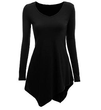 Vestiti Donna Eleganti Vintage Manica Lunga Rotondo Collo Tinta Unita  Tubino Irregolare Orlare Autunno Invernali Moda Casual Corti T-Shirt Vestito  Abito da ... 8d6845582f5