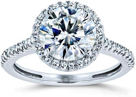 Kobelli Round Brilliant Kobelli Moissanite Halo Engagement Ring 2 1/6 CTW 14k White Gold (FG/VS, GH/I)