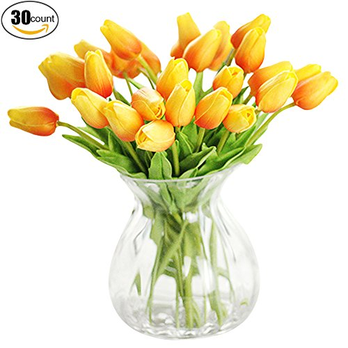 Tulip Floral Vase (XHSP 30 pcs Real-touch Artificial Tulip Flowers Home Wedding Party Decor)