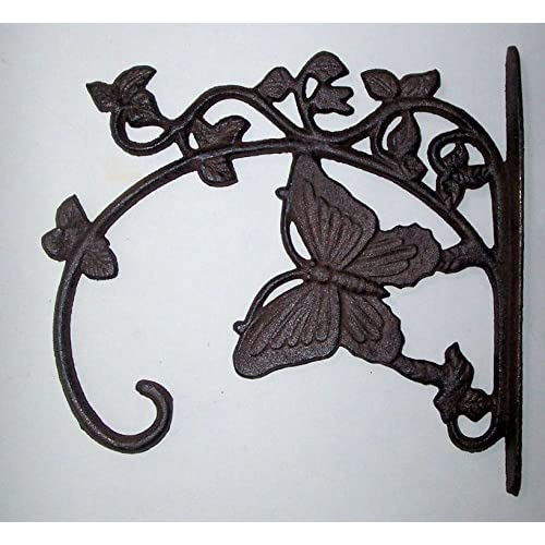 """ABC Products"" - Heavy Cast Iron - All-Purpose Hanger With a Butterfly - Primitive Design - 10-3/4 Inch Wall Mount - (Antique Rustic Color Finish - Accented With Vines And Ivy - Use Indoor or Outdoor) for cheap"