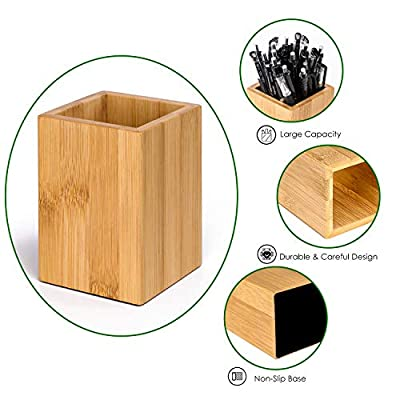 MaxGear Bamboo Pen Holder Bamboo Pencil Holder for Desk Bamboo Desk Pen & Pencil Holders, Desk Pen & Pencil Organizer, 3.2 x 3.2 x 4.33 inches, Bamboo, Brown