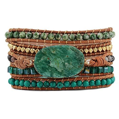 ZENGORI 1Pcs Multi-Layer Wrap Bracelet - Leather Bangle - With Natural Gemstones Charm