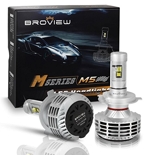 BROVIEW M5 44W High Output 5 Colors LED Headlights - 6000LM H4 9003 HB2 Conversion Kit Bulbs - Cree Chip - PnP - Replaces Halogen/Xenon HID Headlights -(2pcs/set)
