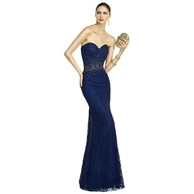 Alyce Paris Strapless Lace Gown Navy/Topaz - 8
