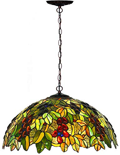 Chandeliers,Magcolor Tiffany Style Stained Glass Raisin Grape Hanging Lamp with 18'' Wide Art Glass Handmade Lampshade, Suitable for Decorating Room