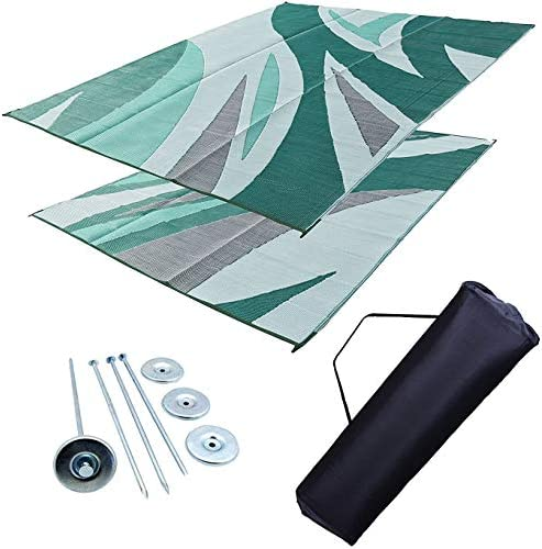 Professional EZ Travel Collection Reversible RV Outdoor Rug for Backyards, Beaches, Camping Grounds, Patios, and More, Storage Bag and Mat Stakes Included, Green Wave 9×12