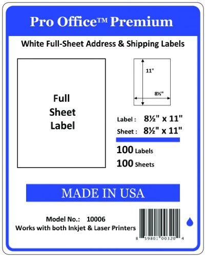 Pro Office Premium 100 Full-Sheet Self Adhesive Shipping Labels for Laser Printers and Ink Jet Printers, White, Made in USA, 8.5 x 11 Inches, Pack of 100, Same Size As ()