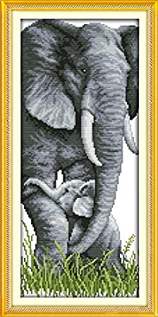 20cm/×44cm or 7.8/×17.16 The Elephant Mother and Son ,14CT Stamped 2 Joy Sunday Cross Stitch Kits