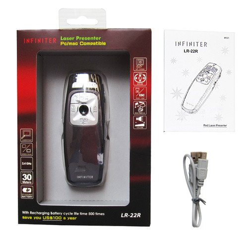 INFINITER LR-22R Wireless Remote/Mouse/Presenter/Media Player/Quick Time Remote Controller for PC/Mac with Red Laser Pointer
