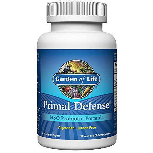 Garden of Life Whole Food Probiotic Supplement - Primal Defense HSO Probiotic Dietary Supplement for Digestive and Gut Health, 45 Vegetarian Caplets (45 Caplets)