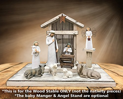 STABLE for NATIVITY *Distressed REAL Wood Stables *Manger & Angel Stand (optional) *Creche fits Willow Tree by Demdaco Angels (not included) *Handmade in USA *Green Burgundy Antique White *No Assembly
