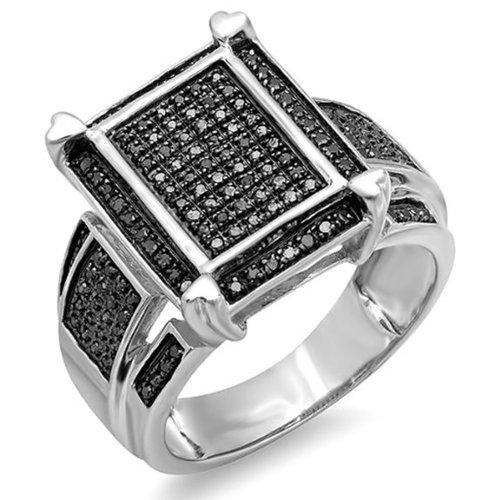 Dazzlingrock Collection 0.50 Carat (ctw) Sterling Silver Round Black Diamond Mens Ladies Unisex Cocktail Ring 1/2 CT, Size 7