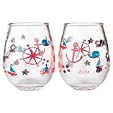 Enesco Designs by Lolita Maritime Acrylic Stemless Wine Glasses, Set of 2, 17 oz.