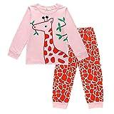 Little Girls Giraffe Pajamas 2 Piece Set 100% Cotton Kids Sleepwear Clothes 2-6T