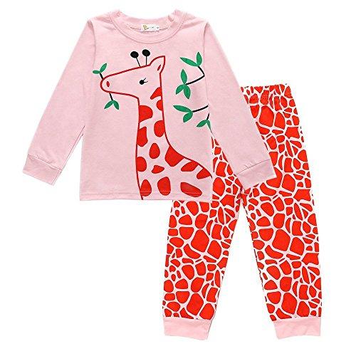 Little Girls Giraffe Pajamas 2 Piece Set 100% Cotton Kids Sleepwear Clothes 2-6T by Little Hand