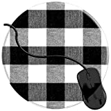Mouse Pad for Computers,Gaming Mouse-Pads Office for Laptop Mouse Mat for PC Non Slip Mice Pad Black White Gingham Buffalo Plaid Checkered 2T2356