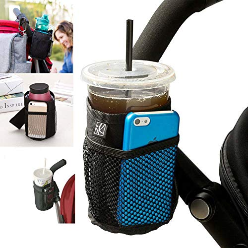 - ESUPPORT Insulated Cup Holder Multifunctional Sport Bottle Organizer Drink Cup with Storage mesh Pockets for Baby Stroller, Wheelchairs, Bike, car Seats, Booster Seats