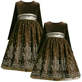 Size-6X, BNJ-4644X BROWN SILVER CAVIAR BEADING MESH OVERLAY Special Occasion Wedding Flower Girl Christmas Holiday Party Dress,Bonnie Jean X34644 LITTLE GIRLS