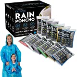 Dryzle Rain Ponchos for Kids and Adults - 12 Raincoat Poncho for Children, Women and Men with Drawstring Hood, Lightweight Disposable Emergency Rain Gear