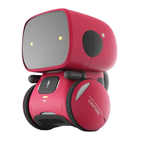 Yingtesi Smart Robot Interactive Toys for Age 3 Years Old Boys Girls  Kids,Voice Command,Touch Control,Music and Sound Robotics (Rose Red)