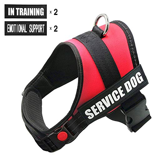 FAYOGOO Dog Vest Harness for Service Dogs, Comfortable Padded Dog Training Vest with Reflective Removable Dog Patches and Handle for Large Medium Small Dogs (XS: Girth 18-21' Neck 11-14')